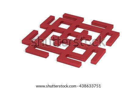 Ethnic geometric signs. mystic lucky symbol 3d illustration - stock photo