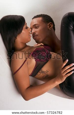 ethnic heterosexual couple in love - stock photo
