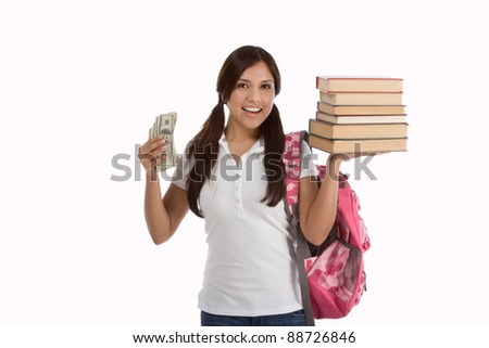 Ethnic Hispanic college student with books and backpack holds pile 100 (one hundred) dollar bills happy getting money help to subsidies costly university tuition - stock photo
