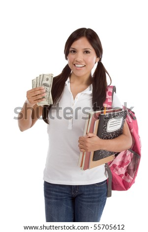 Ethnic Hispanic college student with notebook and backpack holds pile 100 (one hundred) dollar bills happy getting money help to subsidies costly university cost - stock photo