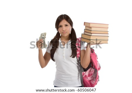 Ethnic Hispanic college student with notebook and backpack holds pile 100 (one hundred) dollar bills happy getting money frustrated by raising tuition cost and unaffordable education forcing into debt - stock photo