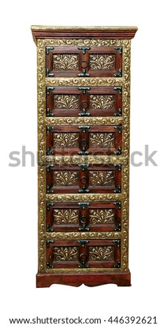 Ethnic Indian chest of drawers - stock photo