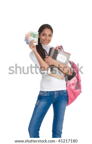 Ethnic Indian college student with  backpack holds pile 100 (one hundred), 50 (fifty) and 20 (twenty) euro bills happy getting money help to subsidies costly university cost - stock photo