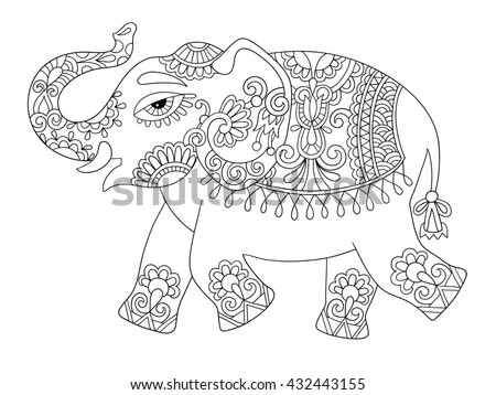 Indian Elephant Line Drawing Hand Drawn Zentangle E...