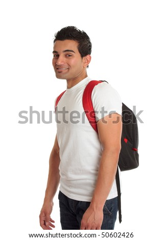 Ethnic male mixed race student standing with a backpack rucksack on his back and smiling - stock photo