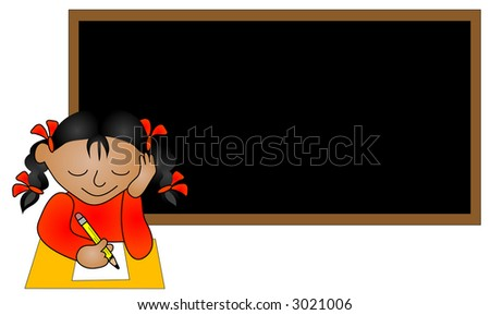 Ethnic school girl sitting in a classroom. - stock photo