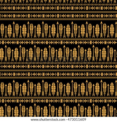 Ethnic seamless pattern, feathers, arrows. Tribal art boho print, border ornament. Background texture, decoration