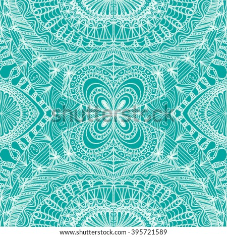 Ethnic seamless pattern in oriental indian style. Mehndi henna design for textile, cards, background, wrapping paper, packing. - stock photo