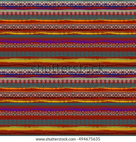 Ethnic seamless pattern. Tribal art colorful boho print, abstract pattern. Background texture, decoration, wrapping, wallpaper