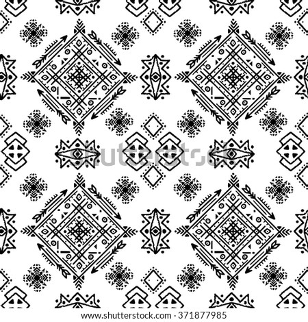 Ethnic seamless pattern. Tribal art print. Boho texture. Cloth design, wallpaper, wrapping - stock photo