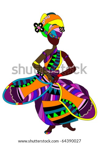 ethnic woman in a bright dress dancing a celebratory dance (raster version) - stock photo