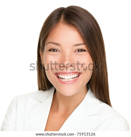 Ethnic woman smiling portrait. close up of beautiful mixed race Asian Caucasian businesswoman with joyful toothy smile isolated on white background. - stock photo