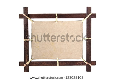 Ethnic wooden picture frame with blank leather canvas for design isolated on white background