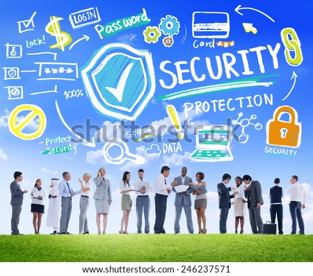 Ethnicity Business People Discussion Digital Security Protection Concept