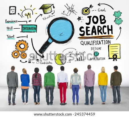 Ethnicity Business People Searching Job Search Recruitment Concept - stock photo