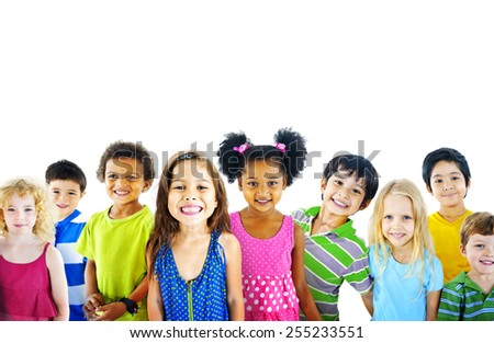 Ethnicity Diversity Gorup of Kids Friendship Cheerful Concept - stock photo