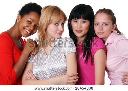 ethnicity - four girls - stock photo