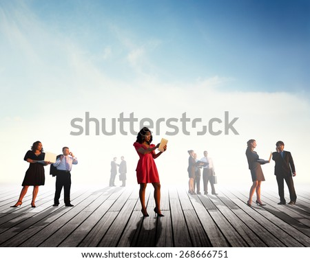 Ethnicity Group of Business People Communication Corporate Concept - stock photo