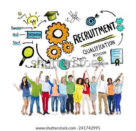 Ethnicity Peolple Recruitment Goal Cheerful Celebration Concept - stock photo