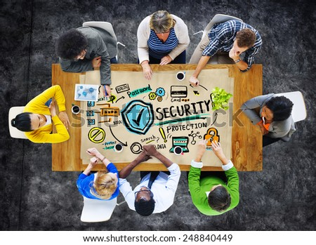 Ethnicity People Conference Discussion Security Protection Concept - stock photo
