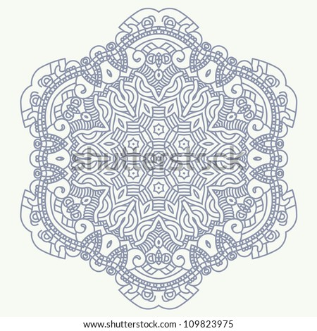 Ethnicity round ornament in blue and white colors, mosaic vector illustration - stock photo