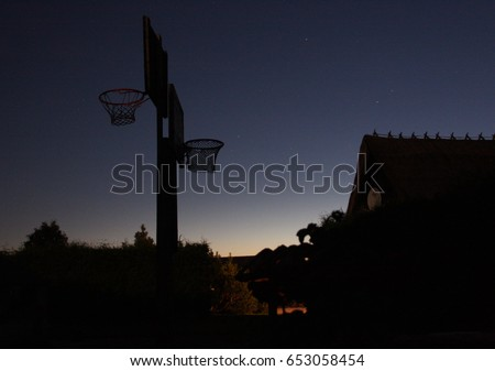 Ethnographic House Basketball Court Two Baskets Stock Photo Royalty