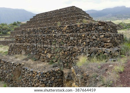 Ethnographic park Piramides de Guimar,Tenerife,Spain - stock photo