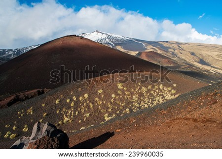 Etna crater and volcanic landscape around mount Etna, Sicily, Itlay - stock photo