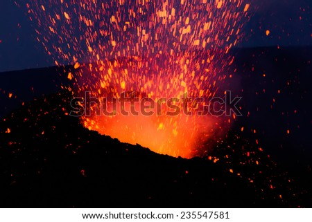Etna eruption of July-August 2014 - lava flow and explosions - stock photo