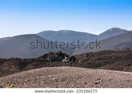 Etna summit craters of south-east panorama, Sicily, Italy - stock photo