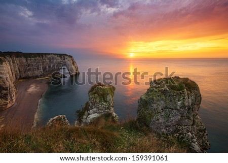 Etretat cliffs, France - stock photo