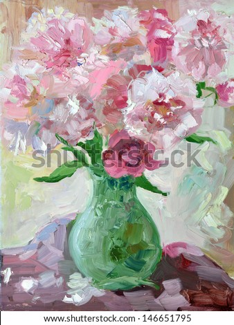 Etude oil painting peonies in a vase - stock photo