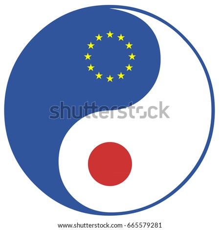 Eu Japan Concept Sign Free Trade Stock Illustration 665579281