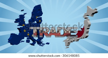 EU and Japanese map flags with trade text illustration - stock photo