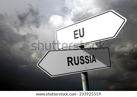 EU and Russia directions. - stock photo