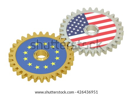EU and United States relations concept, flags on a gears. 3D rendering isolated on white background