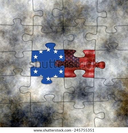 EU and USA puzzles - stock photo