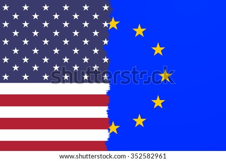 EU and USA torn flag. Conceptual and symbolic illustration of the situation between EU and USA