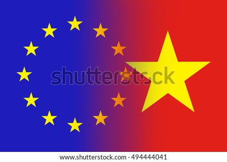 EU and Vietnam flag - Flag concept
