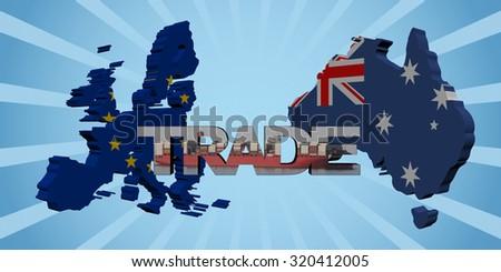 EU Australia map flags with trade text illustration - stock photo
