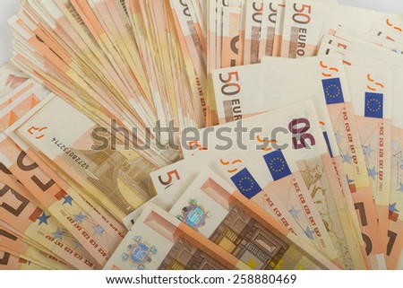 EU banknotes in bills of 50 euro. - stock photo