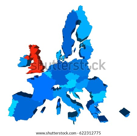 Eu Brexit Map In 3d Perspective The Uk Is Highlighted In Red Ilration With