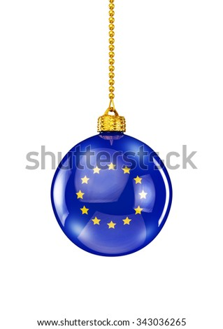 EU christmas ornament / 3D render of christmas ornament with European Union flag - stock photo