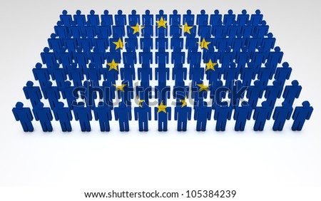 Eu concept. Parade of 3d people forming a top view of European Union flag. With copyspace. - stock photo