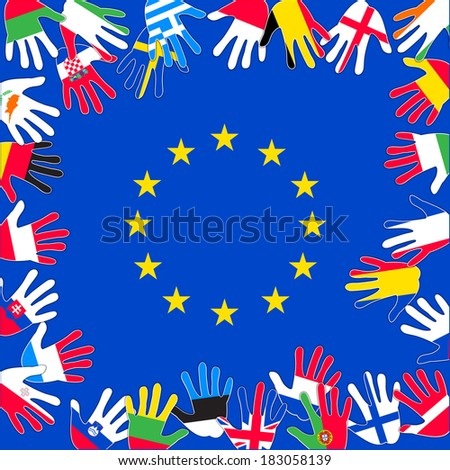 EU countries against the background of the EU flag - stock photo