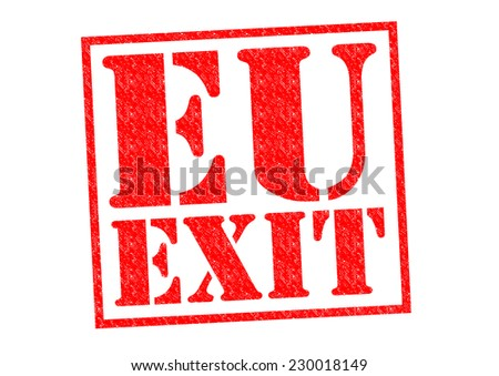 EU EXIT red Rubber Stamp over a white background. - stock photo