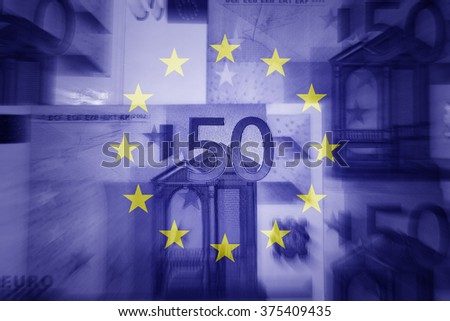 Eu flag and euros - Finance concept  - stock photo