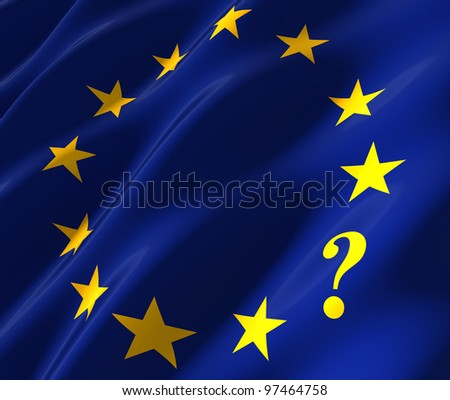 eu flag with question mark instead of star - stock photo