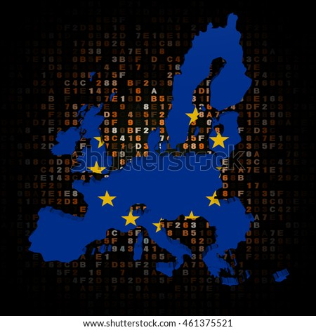 EU map flag on hex code 3d illustration