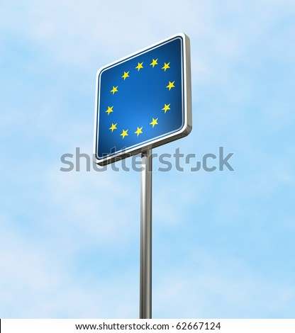 EU sign against a blue sky, isolated